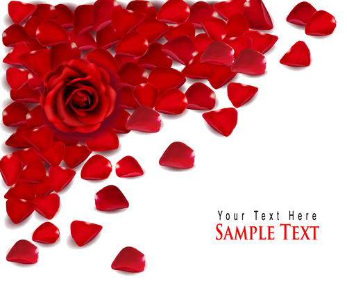 Rose Leaf Valentine Day Card Vector Material