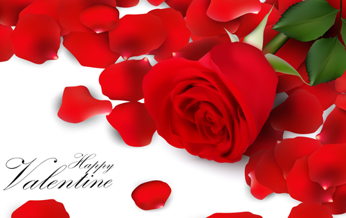 Rose Petal Valentines Day Background Vector 01
