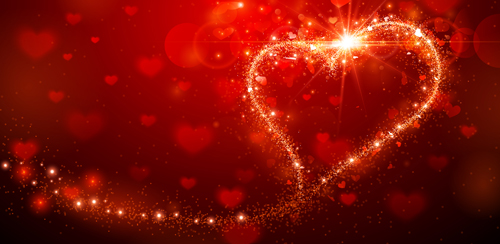 Shining Red With Valentines Day Background Vector Free Download