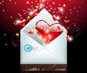 Shiny red heart with envelope valentines day cards