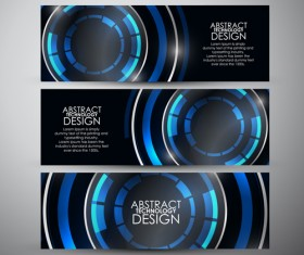 Shiny technology banners vector set 01