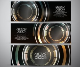 Shiny technology banners vector set 03
