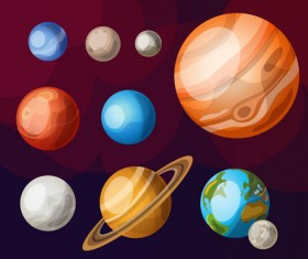 Solar system planets vector material 01