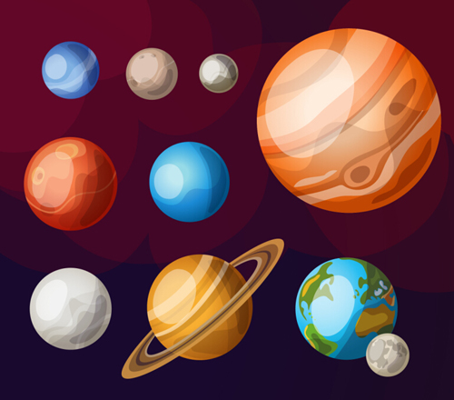 Solar system planets vector material 01 - Vector Maps free ...
