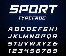 Sport typeface alphabet with numbers vector