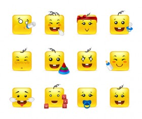 Square smiling faces expressions icons yellow vector set 01