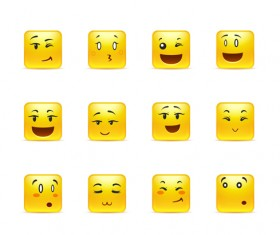 Square smiling faces expressions icons yellow vector set 02