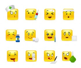 Square smiling faces expressions icons yellow vector set 03