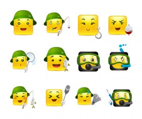 Square smiling faces expressions icons yellow vector set 04