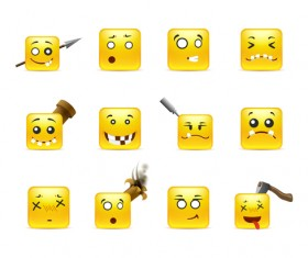 Square smiling faces expressions icons yellow vector set 05