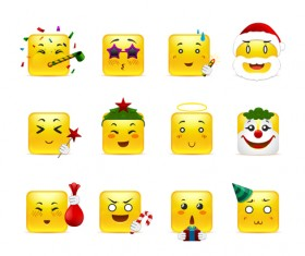 Square smiling faces expressions icons yellow vector set 06