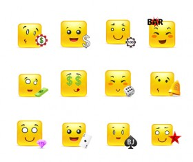 Square smiling faces expressions icons yellow vector set 07