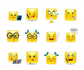 Square smiling faces expressions icons yellow vector set 08