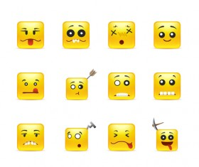 Square smiling faces expressions icons yellow vector set 09