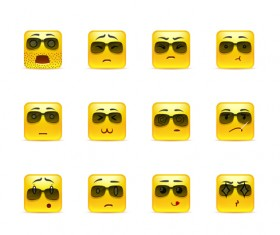 Square smiling faces expressions icons yellow vector set 10