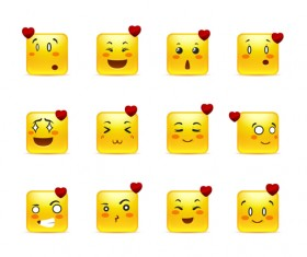 Square smiling faces expressions icons yellow vector set 11