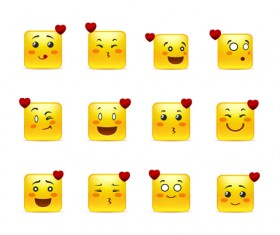 Square smiling faces expressions icons yellow vector set 12