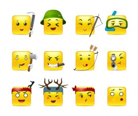 Square smiling faces expressions icons yellow vector set 13