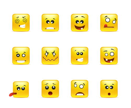 Square smiling faces expressions icons yellow vector set 14