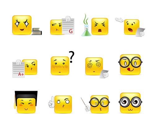 Square smiling faces expressions yellow vector set 15