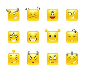 Square smiling faces expressions icons yellow vector set 17