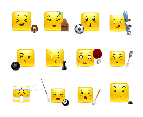 Square smiling faces expressions icons yellow vector set 18