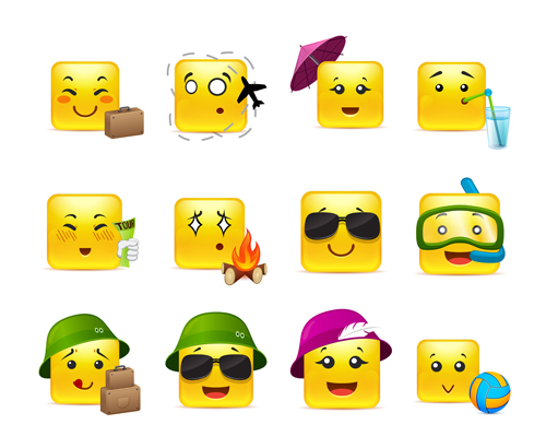 Square smiling faces expressions icons yellow vector set 19
