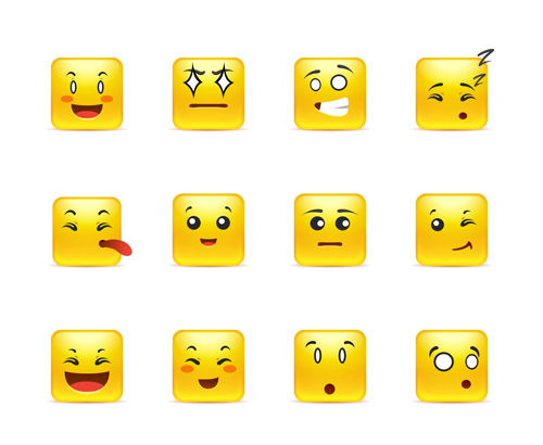 Square smiling faces expressions icons yellow vector set 20