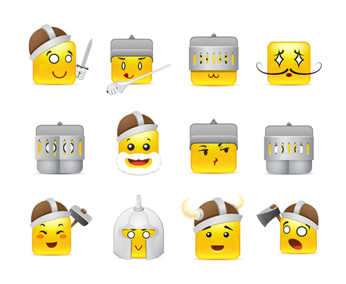 Square smiling faces expressions icons yellow vector set 21