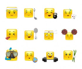 Square smiling faces expressions icons yellow vector set 22