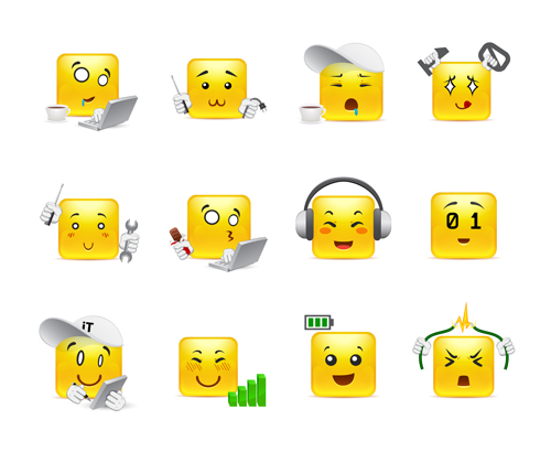 Square smiling faces expressions icons yellow vector set 23
