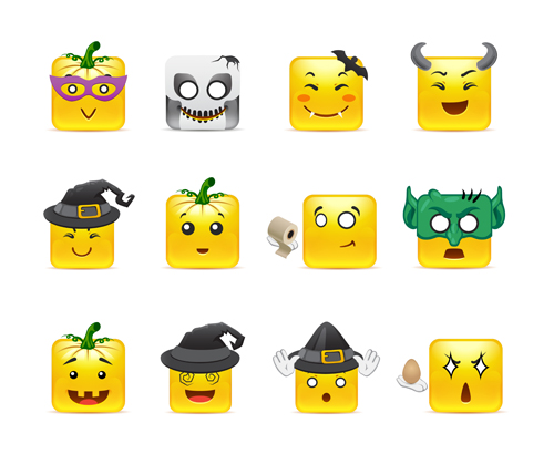 Square smiling faces expressions icons yellow vector set 24