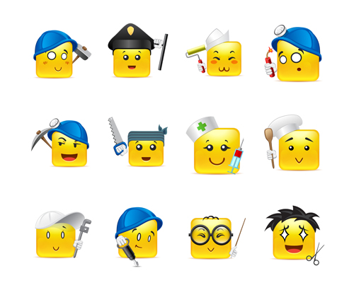 Square smiling faces expressions icons yellow vector set 25