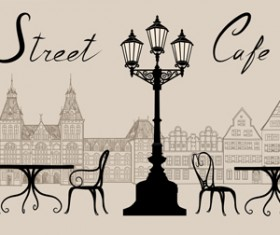 Street cafe hand drawn vector material 02