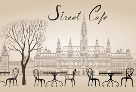 Street cafe hand drawn vector material 03