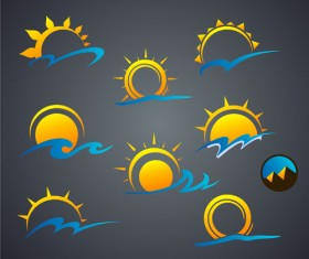 Sun with cloud icons vector