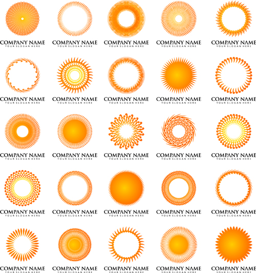 sun with company logos vector design free download