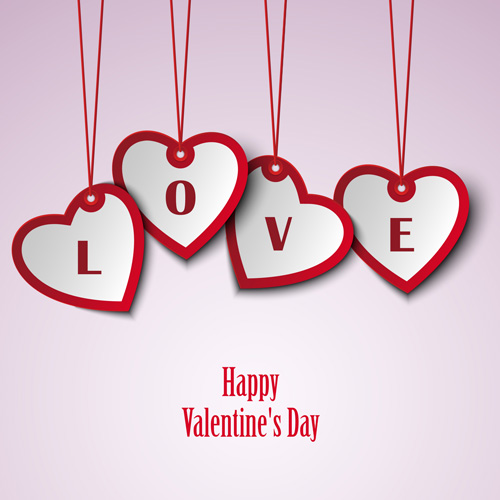 Valentine Card With Hanging Hearts Template Vector Free Download