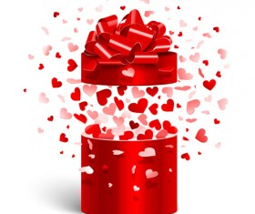 Valentine day gift boxs with red bow vector 01