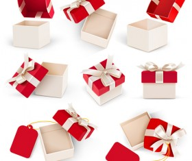Valentine day gift boxs with red bow vector 03