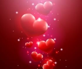 Valentine day red heart backgrounds art vector 01