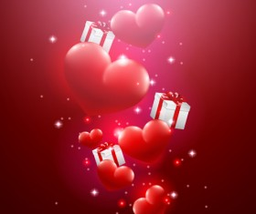 Valentine day red heart backgrounds art vector 02