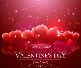 Valentine day red heart backgrounds art vector 03