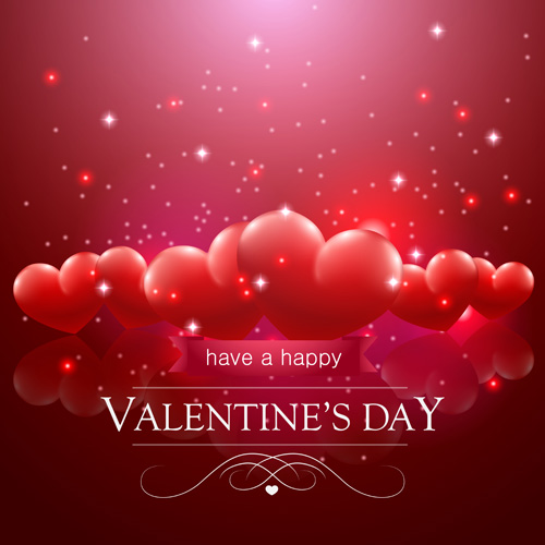 Red Valentine'-s day background with hearts | Stock Vector | Colourbox