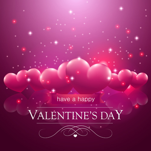 Valentine Day Red Heart Backgrounds Art Vector 04 Free Download