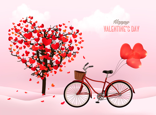 Valentine Heart Tree With Bicycle Romance Vector 02 Free Download