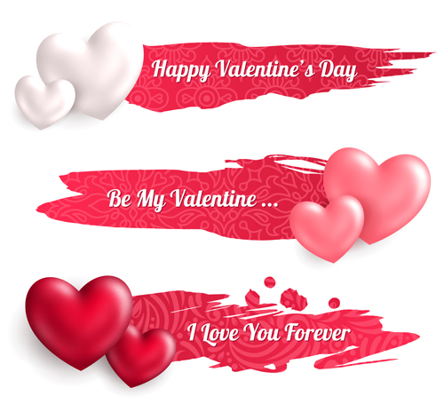 valentines day banners with heart vector 01 free download