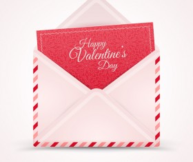 Valentines day card with envelope vector 01