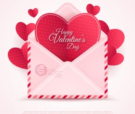 Valentines day card with envelope vector 02
