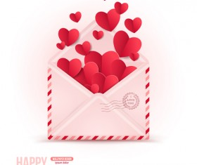 Valentines day card with envelope vector 03